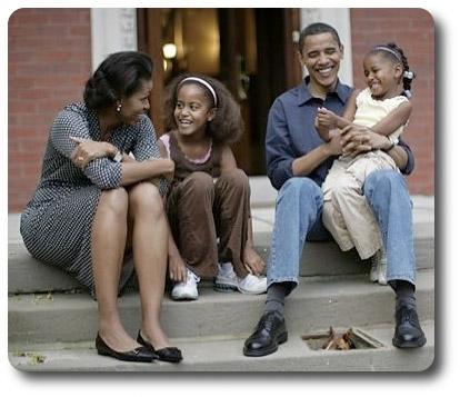 OBAMA HANGS OUT WITH FAMILY AND BASEMENTHORSE